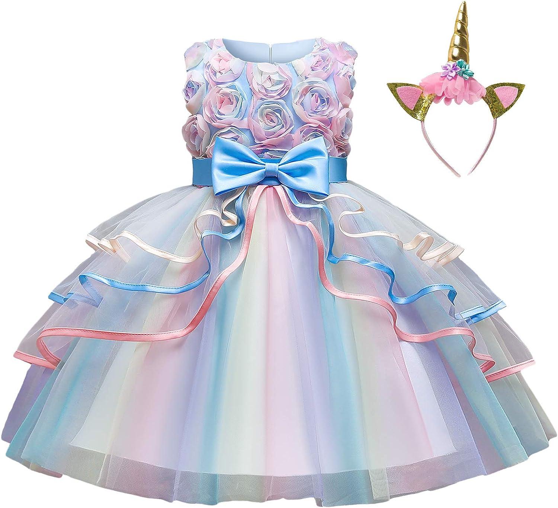 TTYAOVO Flower Girls Unicorn Costume Dress Girl Princess Pageant Party Dress