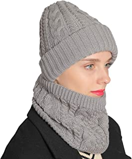 Warm Knitted Beanie Hat and Neck Scarf Set,Fleece Lined Skull Cap Beanie Hat for Womens Mens
