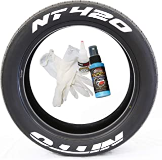 Tire Stickers Nitto NT420 - Permanent DIY Glue On White Tire Lettering Kit with Glue & 2oz Touch-Up Cleaner / 17-18 Inch Wheels / 1.50 Inches/White / 4 Pack
