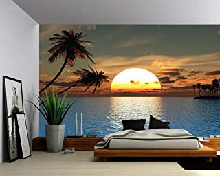 Picture Sensations Canvas Texture Wall Mural, Seascape Tropical Sunset Ocean Palm Tree, Self-Adhesive Vinyl Wallpaper, Peel & Stick Fabric Wall Decal - 96x66