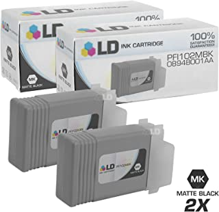 LD Compatible Ink Cartridge Replacement for Canon PFI-102MBK 0894B001AA (Matte Black, 2-Pack)