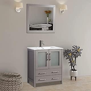 Vanity Art 30 inch Single Sink Bathroom Vanity Set Free Mirror - Compact 2 Door, 2 Drawer with White Ceramic Top | Perfect Bathroom Organizer (Gray) - VA3030-G