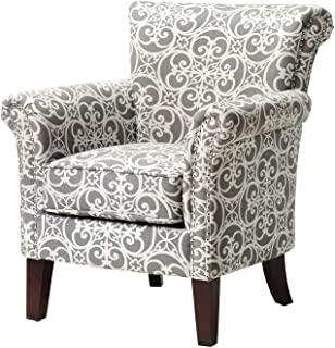 Accent Armchair with Geometric Pattern, Fabric Upholstered and Nailhead Trim, Contemporary Arm Club Chair (Gray/White)