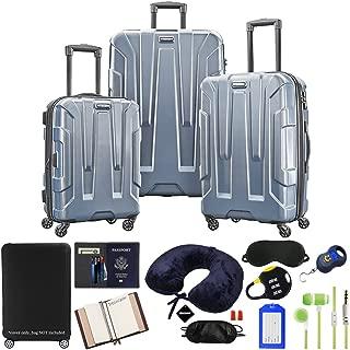 102691-1101 Centric 3pc Nested Hardside 20/24/28 Luggage Set - Blue Slate Bundle w/Deco Gear Luggage Accessory Kit (10 Item)