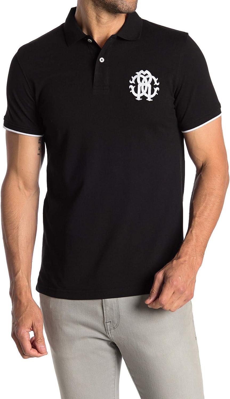 ROBERTO CAVALLI Pipe San Diego Mall Trim Short Polo Black Shirt FST643A# Sleeve Ranking TOP11