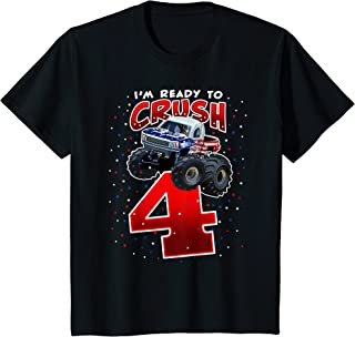 Enfant Boys Im Ready To Crush 4 Monster Truck 4th Birthday T-Shirt