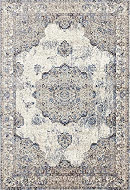 Persian-Rugs 4678 Distressed Ivory 8 x 10 Area Rug Carpet Large New