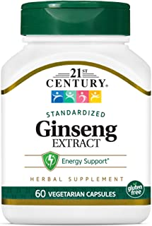 21st Century Ginseng Extract Veg Capsules, 60Count
