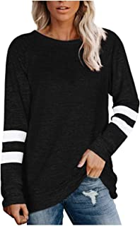 Youdiao Women's Crewneck Sweatshirts Causal Striped Color Block Long Sleeve Sweaters Tunic Tops