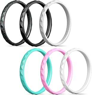 Silicone Wedding Ring Women,Silicone Wedding Ring Thin-Silicone Stackable Rings, Wedding Bands-Stylish Pattern -Comfortable fit&Skin Safe