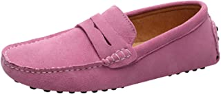 Jamron Men's Suede Leather Penny Loafers Comfort Driving Shoes Moccasin Slippers