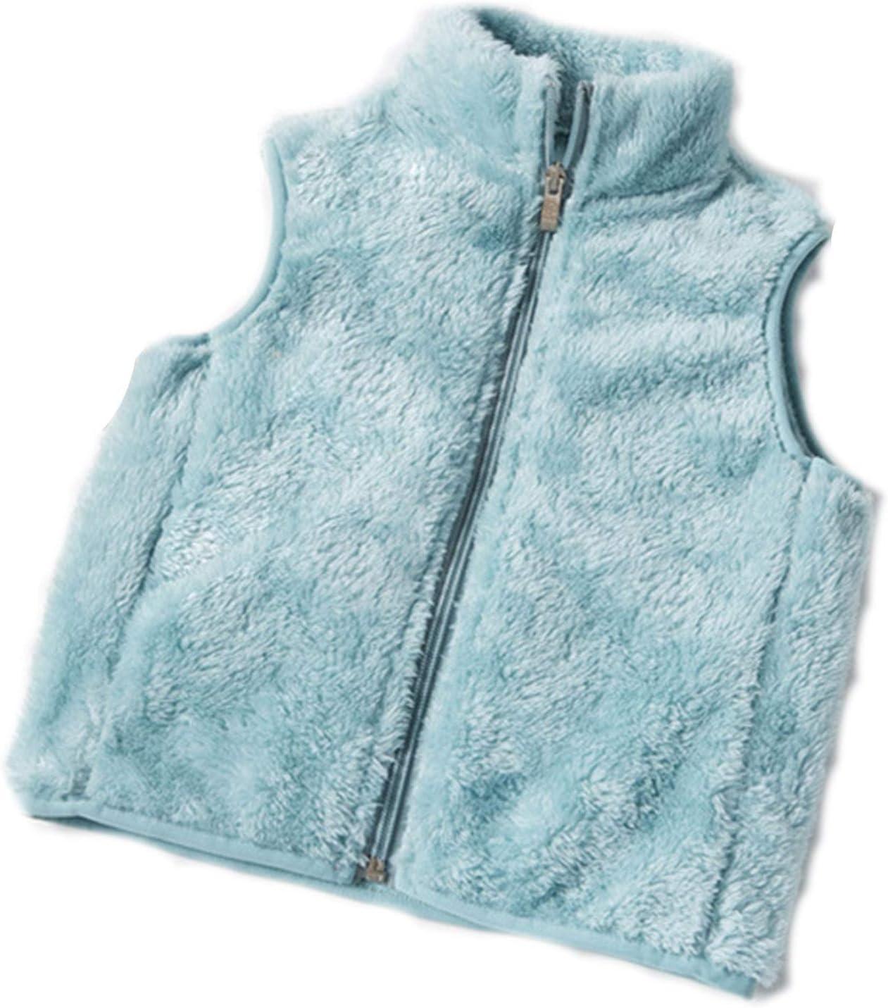 DUTUI Children's Autumn and Winter Girl Vests, Girls Plus Fleece Warm Fleece Vest Jacket, Children's Solid Color Casual Cardigan Vest,Green,XXL