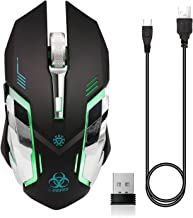 VEGCOO C9s (Updated Version) Wireless Gaming Mouse, Rechargeable Silent Click Mice with Nano Receiver, Changing Breathing Backlit, 3 Adjustable DPI Up to 2400 for Laptop, PC, MacBook (C9s Black)