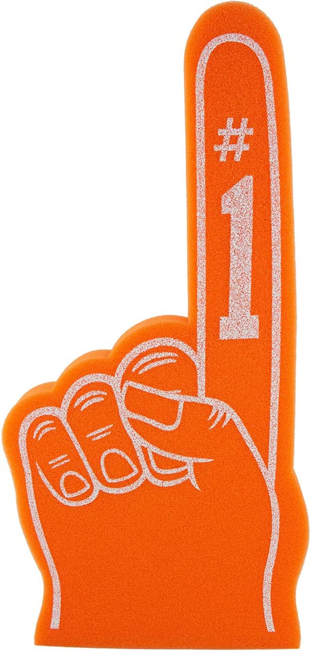 Foam Finger Number 1 1 Universal- Large Giant 18 inch for All Occasions Cheerleading Pompom Football, Sports, Birthdays and Concerts – Lightweight and Durable Hand in Vibrant Colors (Orange) : Sports & Outdoors