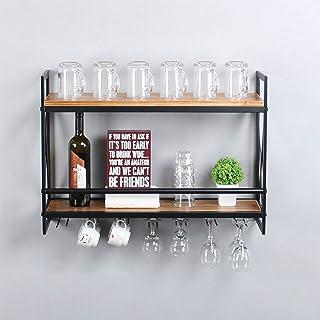 MBQQ 素朴な壁掛けワインラック 7本のステムグラスホルダー付き 30インチ 工業用メタルハンギングワインラック 2段木製棚 ホームルーム リビングルーム キッチン装飾 ディスプレイラック