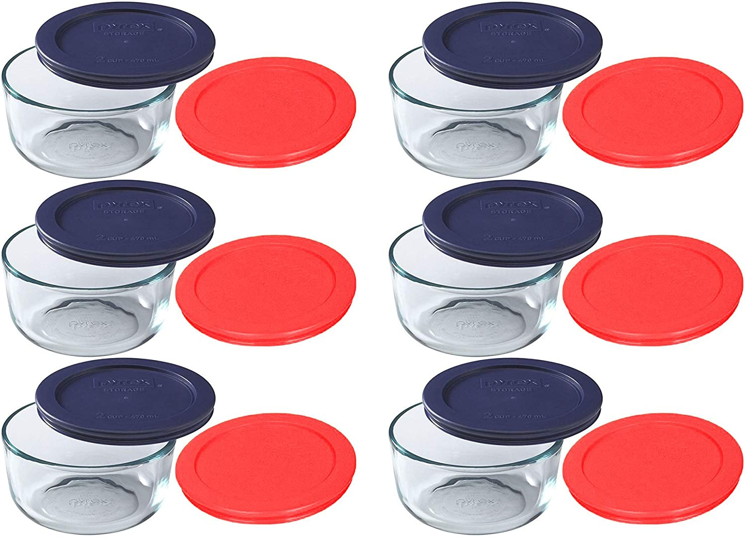 Pyrex Storage New popularity 2 Cup Round Indianapolis Mall Dish Red Clear Blue with Lids Pack