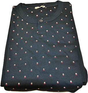 Eco Ragno Pigiama Uomo 3 Pezzi Maglia Girocollo Manica Corta Pantalone Lungo E Corto Microfantasia Jersey di Puro COTONEMI...