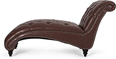 Christopher Knight Home Varnell Chaise Lounge, Dark Brown