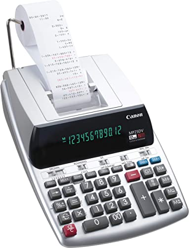 Canon Office Products 2202C001 Canon MP25DV-3 Desktop Printing Calculator with Currency Conversion, Clock & Calendar,...