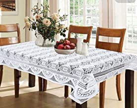 Kuber Industries™ Designer Dining Table Cover Cream Cloth Net for 6 Seater 60 * 90 Inches (Self Design)