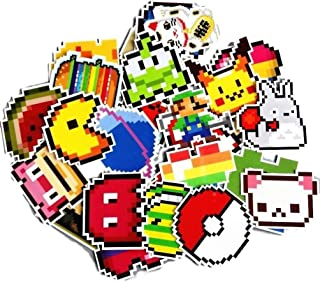 Video Game Themed Retro Pixel 25 Piece Sticker Decal Set for Kids Adults - Laptop Motorcycle Skateboard Decals
