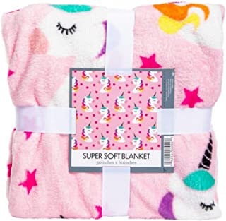 Super Soft Unicorn and Star Throw Blanket Pink and Rainbow Colors 50 x 60 inches with Unicorn Silicone Bracelet Gift Set for Girls for Unicorn Lovers Warm and Snuggly