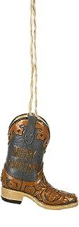 Merry Christmas Burnt Orange Blue Cowboy Boot 3 inch Resin Decorative Christmas Ornament