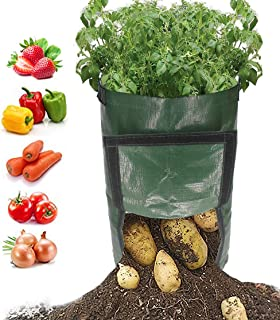 kelvee Grow Garden Bag 10 Gallon Garden Planter Bags Large Grow Bags Plant Tub with Handles & Flap for Vegetables Sweet Potato Tomatoes Strawberry Carrot Onion 2 Pack.