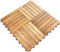 Terrastegel - 39 tegels - Acaciahout - totale dekking: 3,53 m² - 30x30x2.5 cm per tegel - kunststof basis - tuintegels vlo...