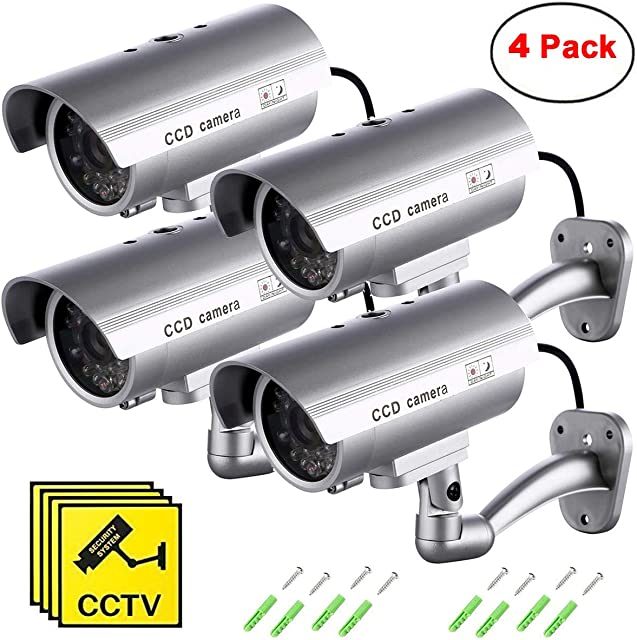 Maxesla Cámara Falsa 4 Pieza Dummy Cámara de Seguridad Vigilancia Falsa Inalámbrico Impermeable Sistema de Vigilancia IR LED Parpadeante Fake Cámara Simulada CCTV