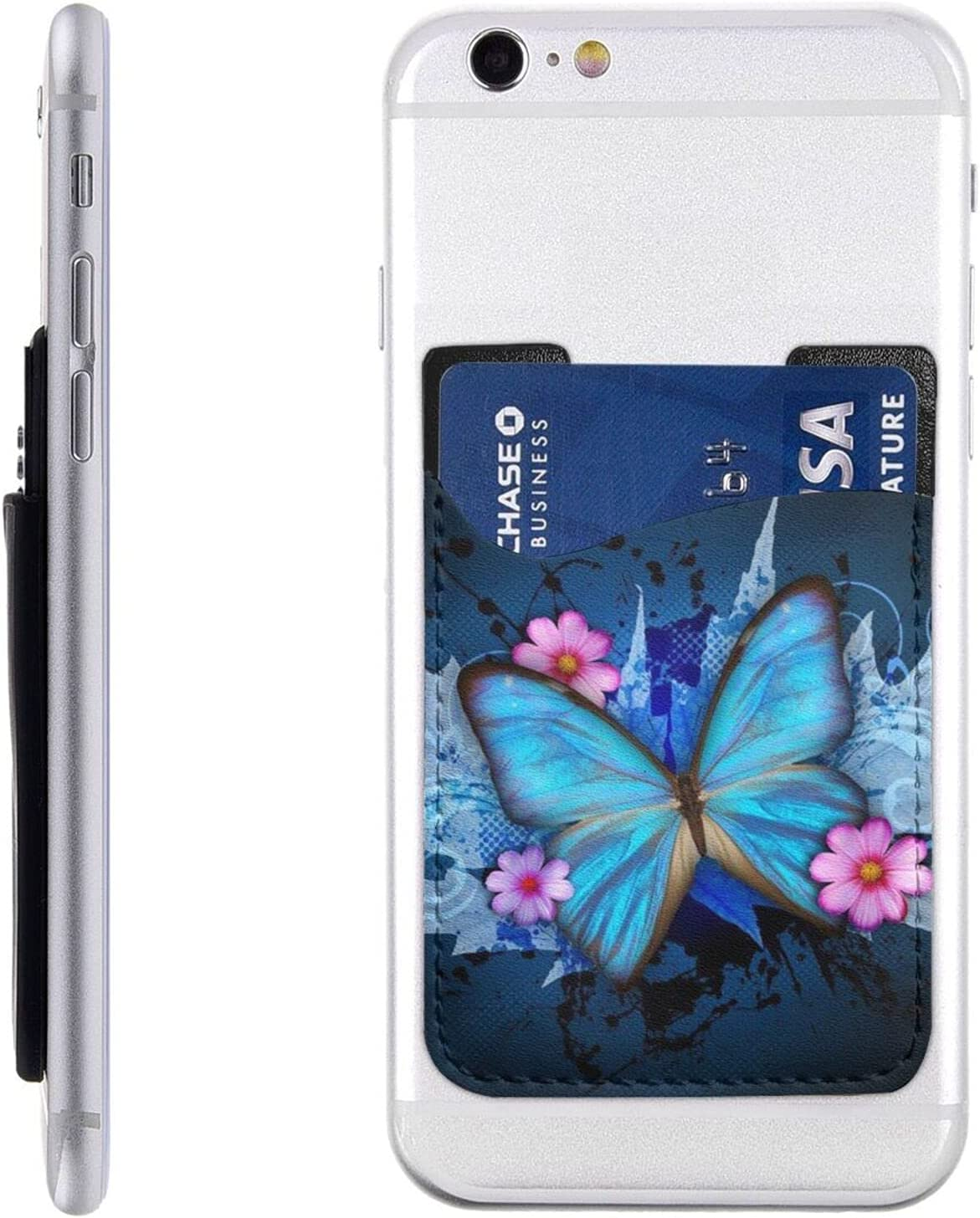 Fresno Mall Butterfly Phone OFFicial store Card Holder Cell Stick Slee On Wallet