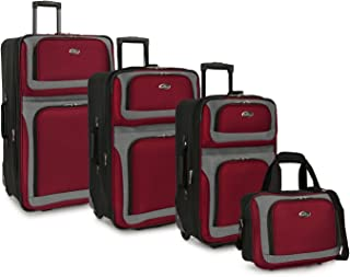 U.S. Traveler New Yorker Lightweight Softside Expandable Travel Rolling Luggage Set, Red, 4-Piece (15/21/25/29)