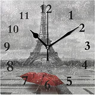 FunnyCustom Paris Eiffel Tower Red Umbrella Cityscape Square Wall Clock 7.8 Inch Hanging Clock for Living Room/Kitchen/Bedroom