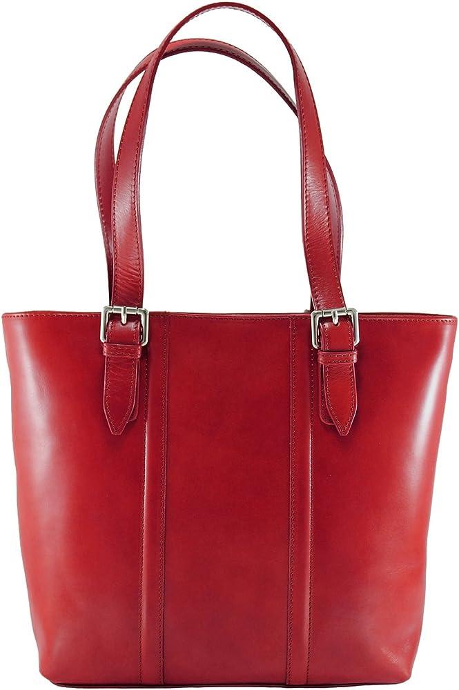 Chicca tutto moda ctm, borsa da donna a mano, classica, elegante, in vera pelle al 100 % 9055-rosso