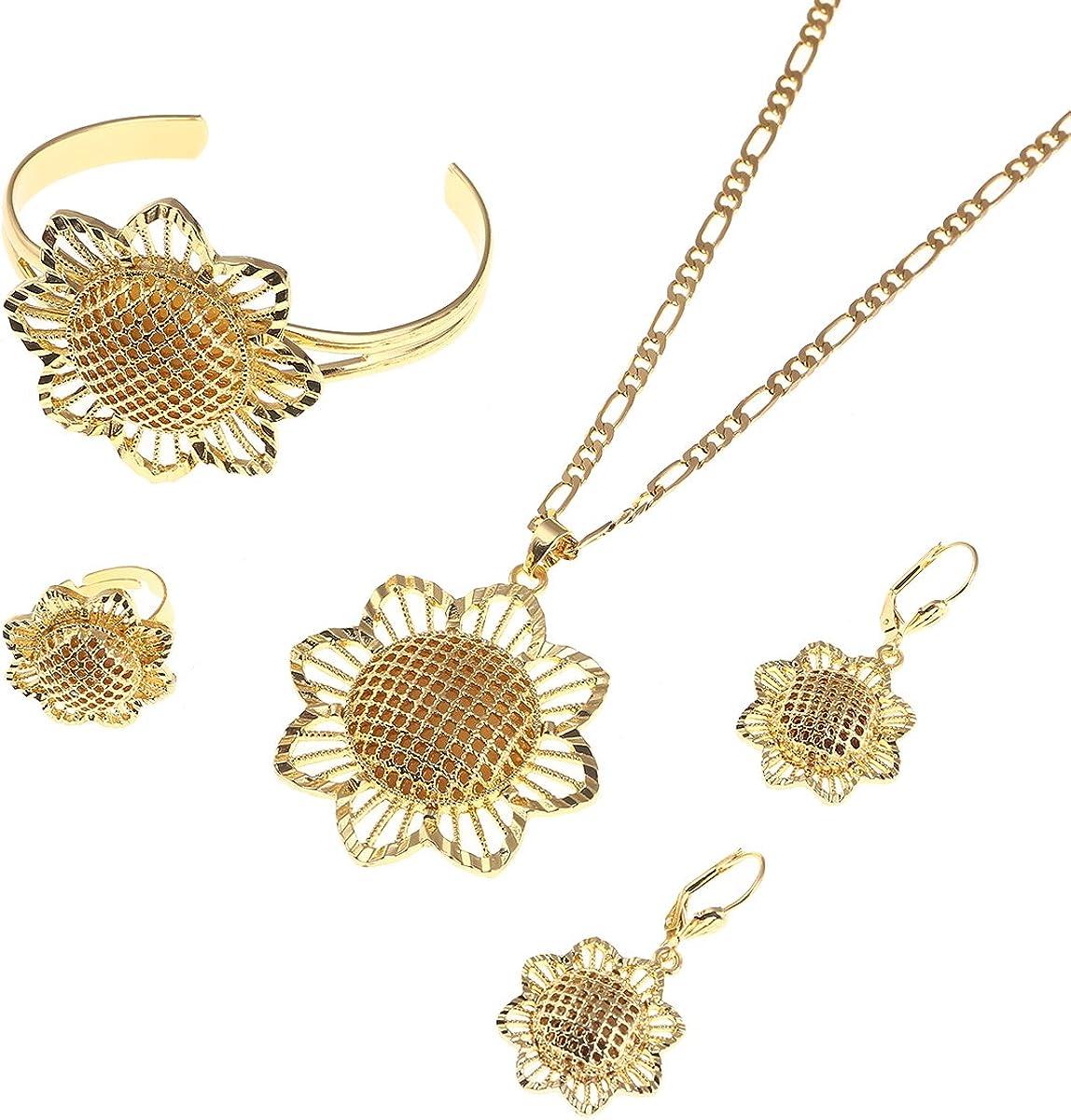 Flower Ethiopian Sets Eritrea Habesha Africa Bridals Wedding Jewelry Gift Necklace Pendnat Earrings Set