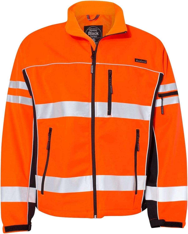 ML Kishigo Premium Black Series Men's Class 3 High Visibility Soft Shell Jacket -Orange, 3XL, Model Number JS138-3XL