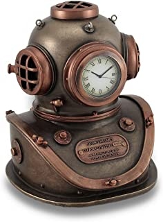 Resin Desk Clocks Bronze And Copper Finish Mark V Dive Helmet Desk Clock 4 X 5 X 4.5 Inches Copper