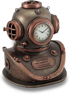 Bronce y acabado de cobre Mark V casco de buceo reloj de mesa