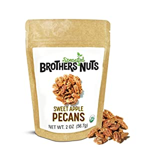 Brothers Nuts - Sweet Apple Pecans, Natural and Sprouted Pecans, Apple-flavored Pecans Halves and Pieces, Dairy-and-Gluten-free Vegan Snacks, Keto Nuts, 2 oz