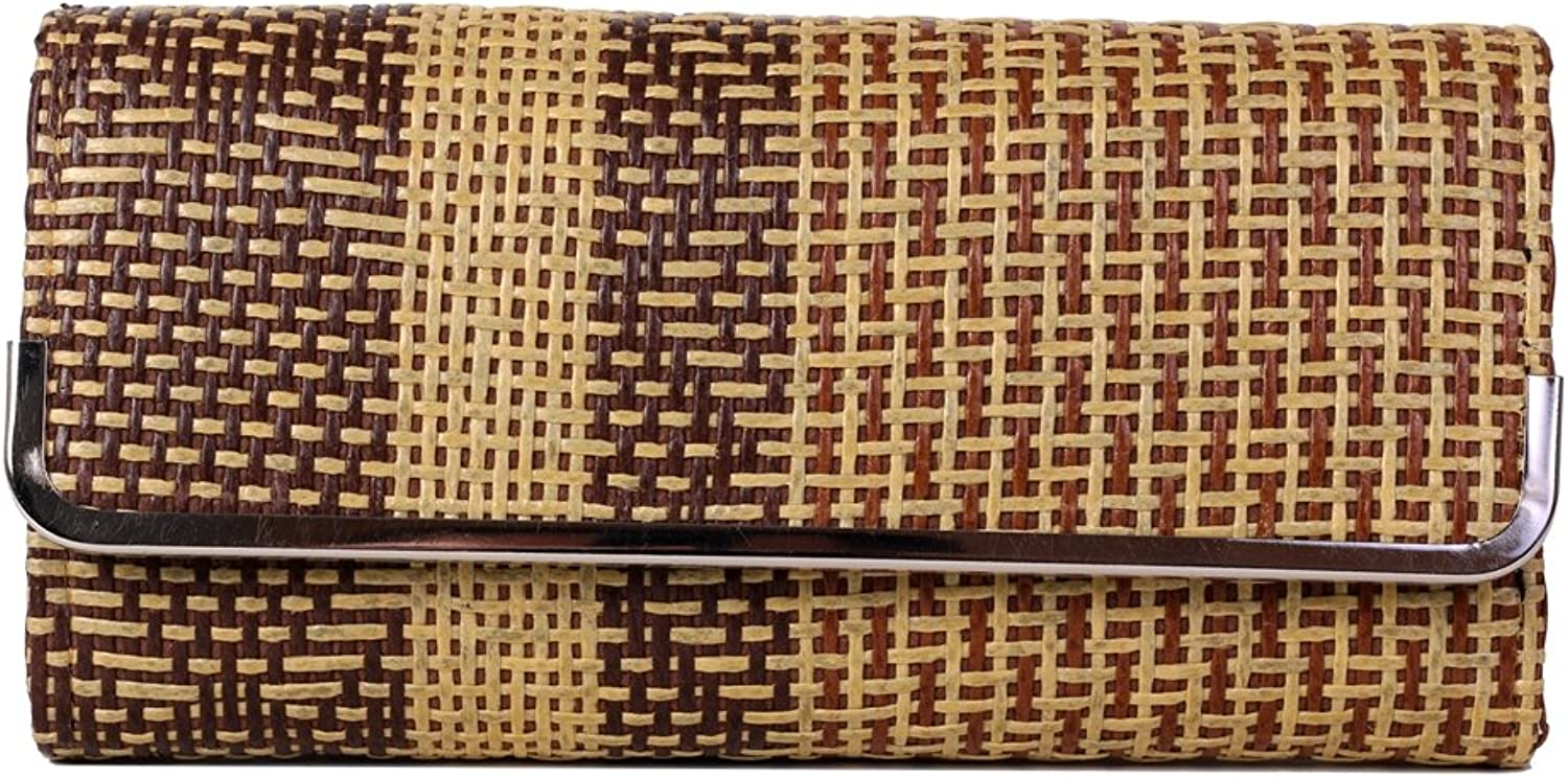 Decorative Handmade Woven Dual color Thai Reed Clutch   Wallet   Purse with abstract design.