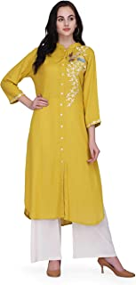 Pret A Porter Mustered Yellow Colored Rayon Designer Kurti With Palazzo Pants (Stitched)
