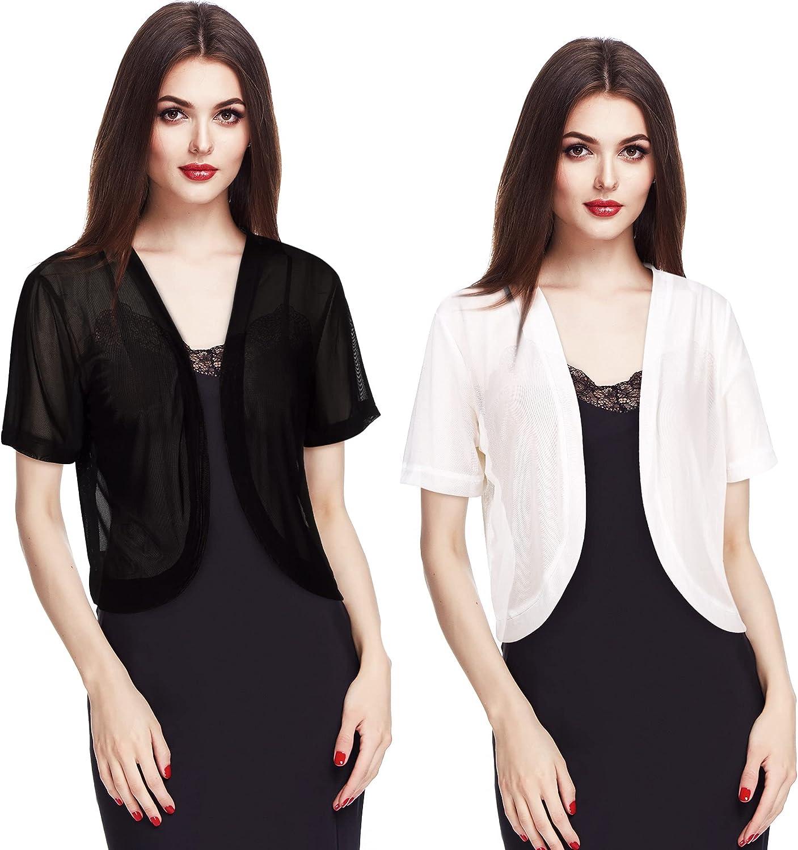2 Pieces Women Bolero Short Sleeve Chiffon Cardigan, Black and White