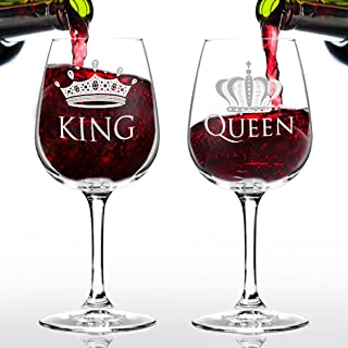 King and Queen Wine Glass Gift Set of 2 (12.75 oz) | Fun Novelty His and Hers or Husband Wife Drinkware | Couple, Newlywed, Anniversary Gift | Wedding Present or Favorite Couples Gift | USA Made
