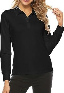 پیراهن گلف زنانه AjezMax آستین بلند تی شرت یقه دار ورزشی پیراهن خشک سریع سریع
