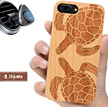 iProductsUS Wood Phone Case Compatible with iPhone 8, 7, 6/6S and Magnetic Mount, Protective Phone Cases Engraved Cute Turtles,Built-in Metal Plate,TPU Rubber Shockproof Covers (4.7 inch)