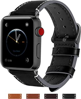 Fullmosa Compatible Apple Watch Band 42mm 44mm 38mm 40mm Genuine Leather iWatch Bands for iWatch Series 5 4 3 2 1, 42mm 44mm Black + Smoky Grey Buckle