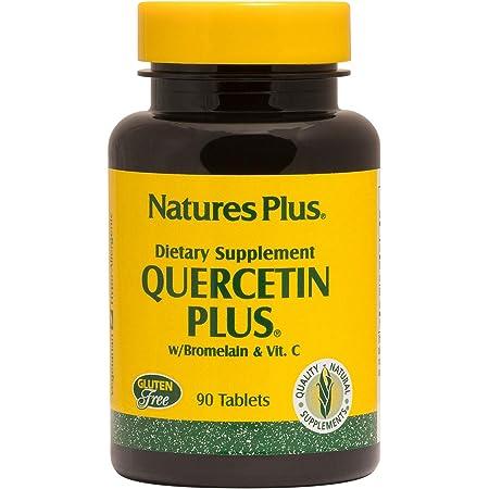 NaturesPlus Quercetin Plus with Vitamin C & Bromelain - 650 mg, 90 Vegetarian Tablets - Allergy Relief Supplement, Antioxidant, Anti-Inflammatory - Gluten-Free - 45 Servings