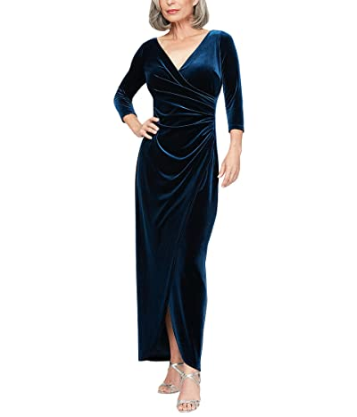 Alex Evenings Petite Long Stretch Velvet Dress with 3/4 Sleeves (Imperial) Women