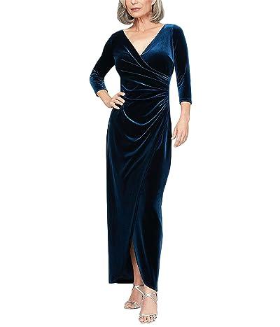 Alex Evenings Petite Long Stretch Velvet Dress with 3/4 Sleeves Women
