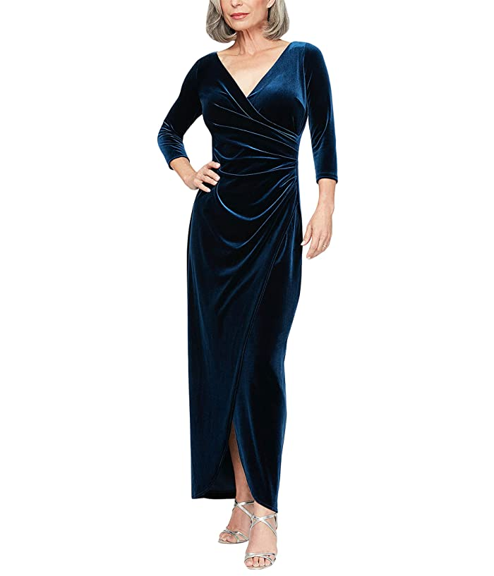 1940s Dress Styles Alex Evenings Petite Long Stretch Velvet Dress with 34 Sleeves Imperial Womens Clothing $168.95 AT vintagedancer.com